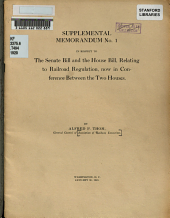 Supplemental Memorandum No. 1 in Respect to the Senate Bill and the House Bill, Relating to Railroad Regulation, Now in Conference Between the Two Houses