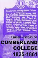 A Brief History of Cumberland College 1825 1861 PDF