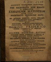 De iure magistratus non rogati a iudicante exequendi sententiam quam tulit magistratus provinciae alius ...