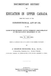 Documentary History of Education in Upper Canada: Volume 10