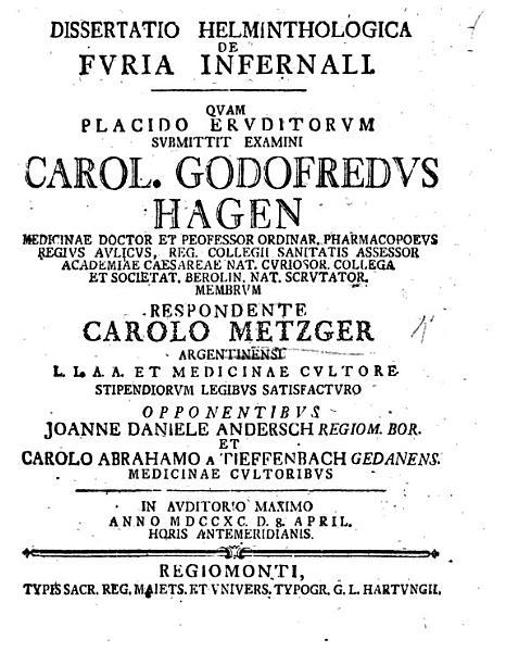Download Resp  Dissertatio helminthologica de furia infernali  etc  Pr  s  C  G  Hagen Book