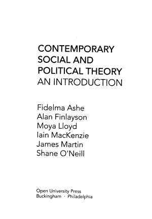 Contemporary Social and Political Theory PDF