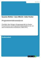 Programmstrukturanalysen: Überblick über Krügers Programmprofile im dualen Fernsehsystem und Programmstrukturanalysen des ost- und westdeutschen Fernsehens (1989-1991)