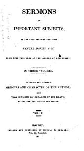 Sermons on Important Subjects ... To which are Prefixed, Memoirs and Character of the Author: And Two Sermons on Occasion of His Death, Volume 2