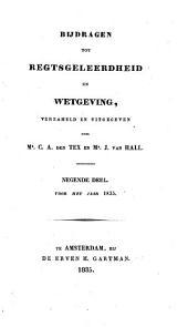 Bijdragen tot regtsgeleerdheid en wetgeving: Volume 9