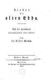 Lieder der alten Edda: Band 1
