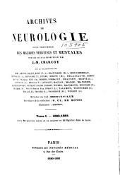 Archives de neurologie: Volumes1à2