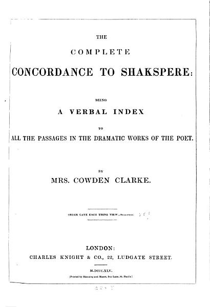 Download The Complete Concordance to Shakspeare Book