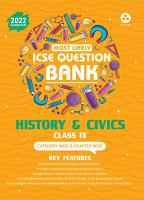 ICSE Most Likely Question Bank History   Civics Class 9  2022 Exam    Categorywise   Chapterwise Topics  Indepth Concepts  Quick Revision PDF