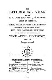 The Liturgical Year: The time after Pentecost, v. 3. 2d ed. 1800 [sic