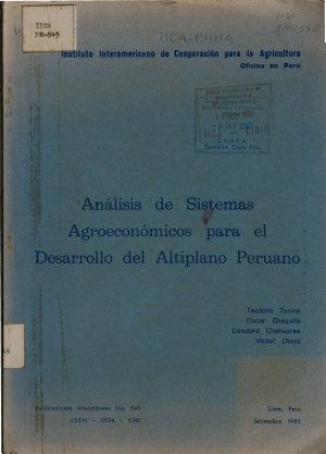 Analisis de Sistemas Agroeconomicos Para El Desarrollo Del Altiplano Peruano PDF