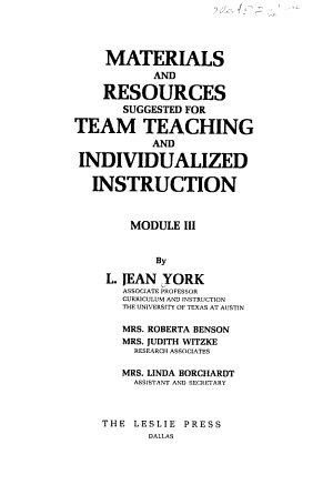 Materials and Resources Suggested for Team Teaching and Individualized Instruction PDF