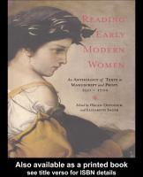 Reading Early Modern Women PDF
