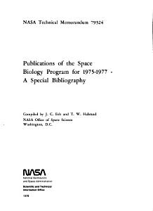 Publications of the Space Biology Program for 1975 1977 PDF
