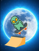 Space Alien Skateboarding Blue Moon Notebook Journal 150 Page College Ruled Pages 8.5 X 11