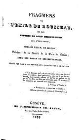 Fragmens de l'Emile de Rousseau, et des lettres de Lord Chesterfield sur l'education