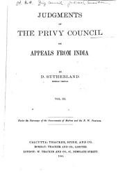 Judgments of the Privy Council on Appeals from India: Volume 3