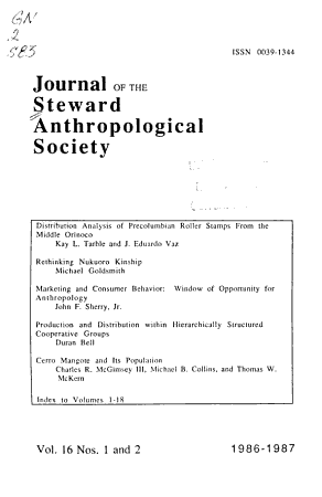 Journal of the Steward Anthropological Society PDF