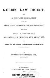 The Quebec Law Digest Book PDF