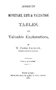 Agents  Monetary  Life   Valuation Tables  With Valuable Explanations PDF