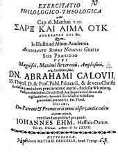 Exercitatio philol. theol. ad Cap. 16. Matthaei v. 17. sarx kai haima uk apokalypse soi &c