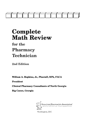 Complete Math Review for the Pharmacy Technician PDF