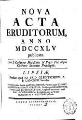 Nova acta eruditorum: anno ... publicata, ...