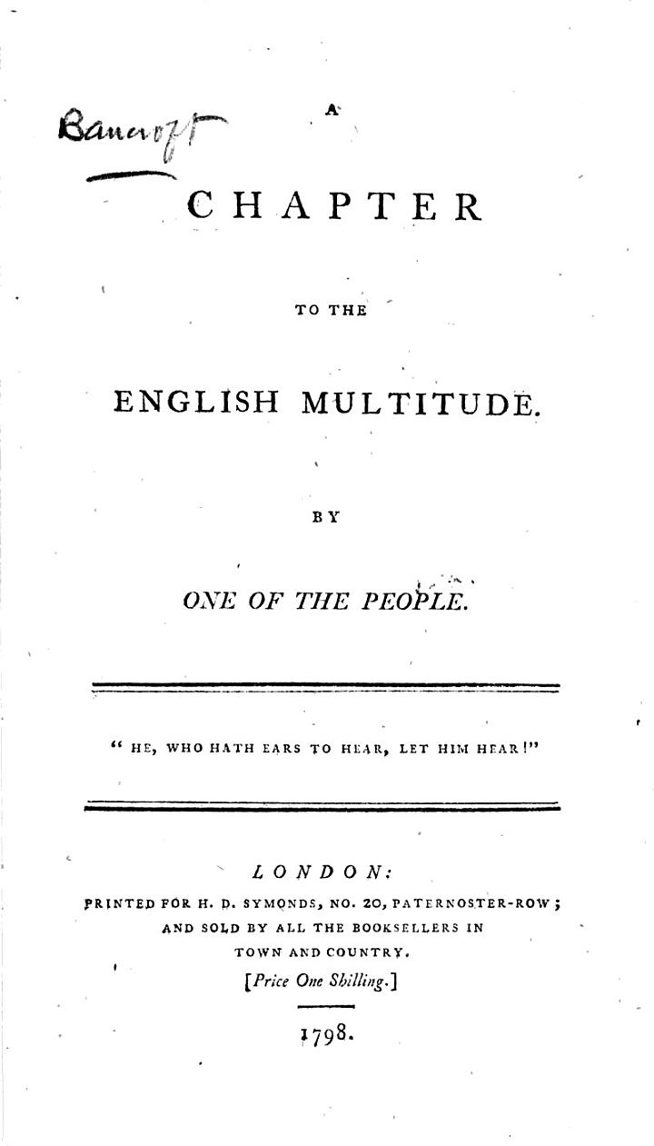 A Chapter to the English Multitude