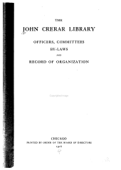 Officers, Committees, By-laws and Record of Organization