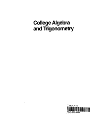 College algebra and trigonometry Book