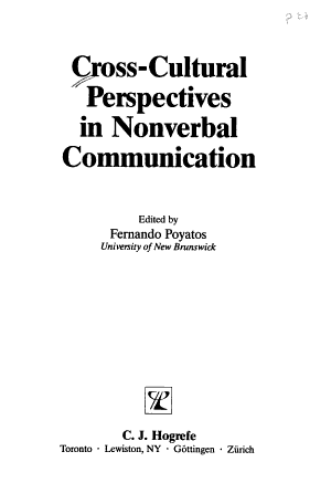 Cross cultural Perspectives in Nonverbal Communication PDF
