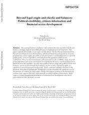 Beyond legal origin and checks and balances   political credibility  citizen information and financial sector development PDF