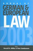 Annual of German and European Law PDF