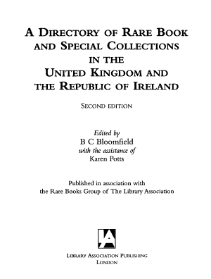 A Directory of Rare Book and Special Collections in the United Kingdom and the Republic of Ireland PDF