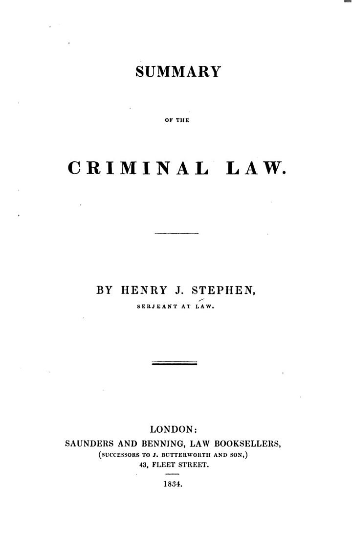 Summary of the Criminal Law