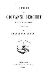 Opere di Giovanni Berchet: edite e inedite