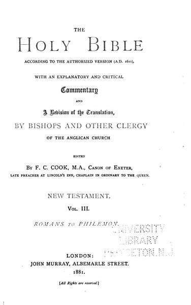 Download The Holy Bible  According to the Authorized Version  A D  1611   Romans Philemon Book
