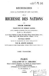 Recherches sur la nature et les causes de la richesse des nations: Volume3