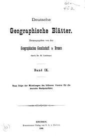Deutsche geographische Blätter: Band 9,Ausgaben 3-4