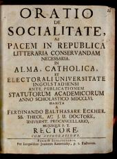 Oratio de socialitate, ad pacem in republica litteraria conservandam necessaria