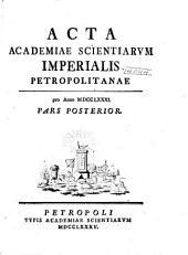 Acta Academiae Scientiarum Imperialis Petropolitanae: Volume10