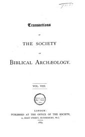 Transactions of the Society of Biblical Archaeology: Volume 9