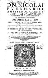 Solemnis repetitio celeberrimi capituli quoniam contra falsam in qua continentur ... inprimis de Festibus et de Fide instrumentorum Tractatus