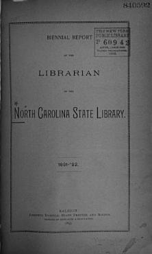 Biennial Report of the Librarian of the North Carolina State     PDF
