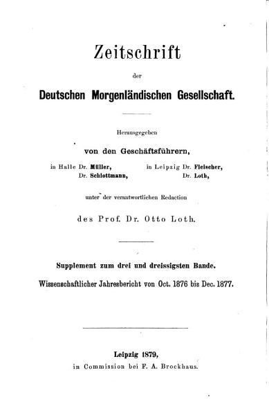Wissenschaftlicher Jahresbericht Uber Die Morgenlandischen Studien 1859 Bis 1881