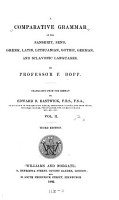 A Comparative Grammar of the Sanskrit  Zend  Greek  Latin  Lithuanian  Gothic  German  and Sclavonic Languages PDF