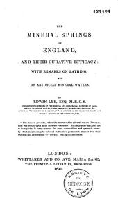 The mineral Springs of England and their curative efficacy