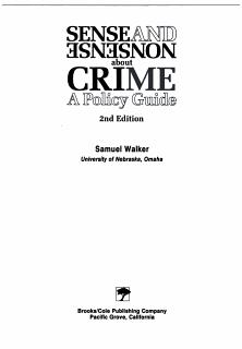 Sense and Nonsense about Crime