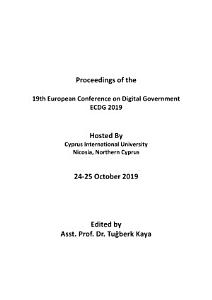 ECDG 2019 19th European Conference on Digital Government