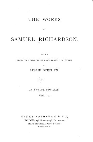 Works of Samuel Richardson  The history of Clarissa Harlowe